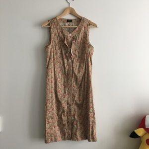TALBOTS Floral Ruffle Button Down Shirt Dress
